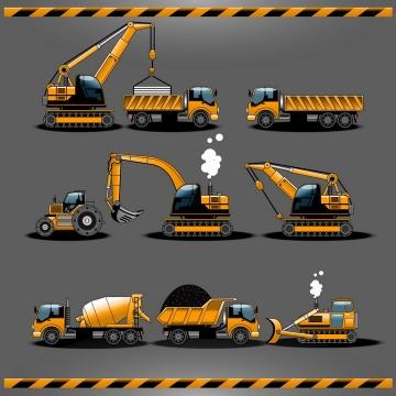 起重机重型卡车压路机挖掘机挖土机水泥车推土机和自卸卡车的那个工程机械车辆图片免抠矢量素材