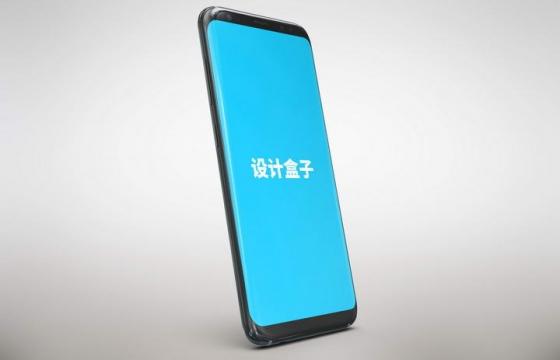 竖版斜视黑色智能手机模型屏幕显示样机图片素材