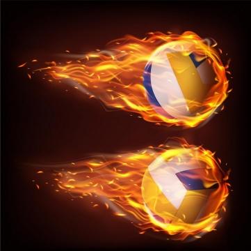 2款飞行中燃烧着火焰的排球png图片免抠矢量素材