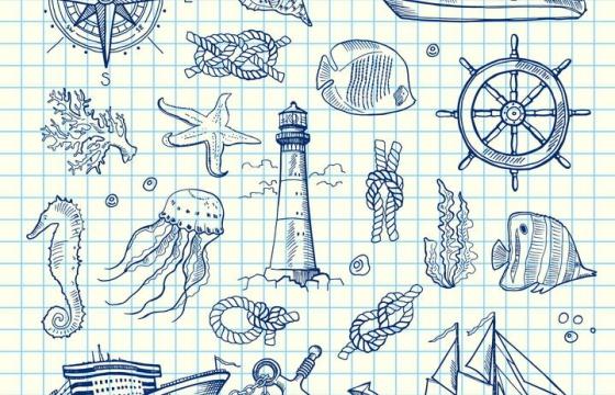 圆珠笔涂鸦手绘简笔画风格海洋主题图片免抠素材合集