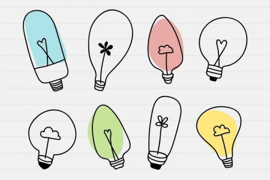 八款各种不同的手绘涂鸦孟菲斯风格线条电灯泡图片免抠素材