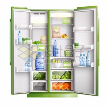 绿色双门对开电冰箱中放满了食物家用厨房电器png图片素材