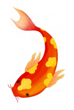 扁平化风格的红色鲤鱼锦鲤png图片免抠素材