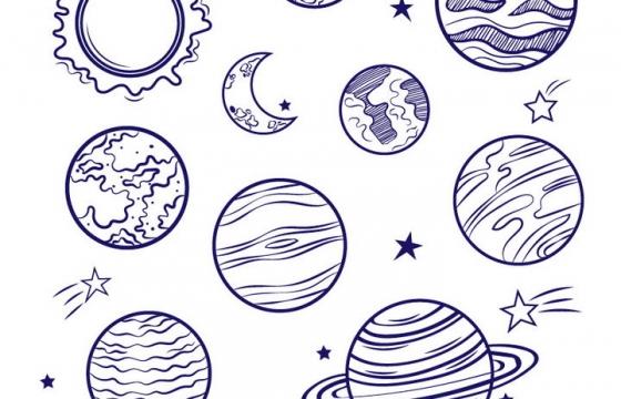 圆珠笔手绘风格太阳系八大行星天文科普图片免抠素材