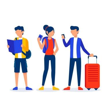 手绘扁平化风格看地图带着行李箱旅行的年轻人图片免抠素材