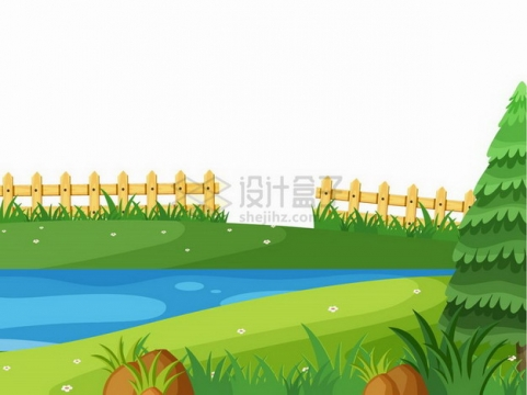 春天乡村里的绿草地池塘和木栅栏插画png图片免抠矢量素材