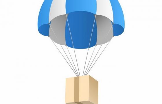 吊着纸箱子降落的蓝白相间的降落伞png图片免抠矢量素材