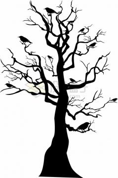 枯树上的乌鸦大树剪影png图片素材