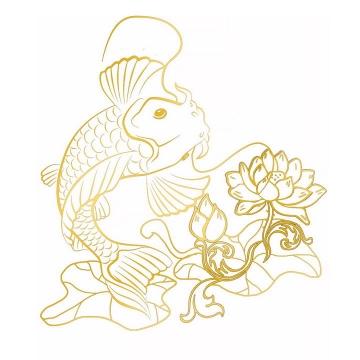 金色线条荷花与鲤鱼锦鲤图案png图片免抠素材