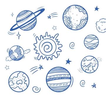 蓝色圆珠笔手绘风格太阳系八大行星天文科普图片免抠素材