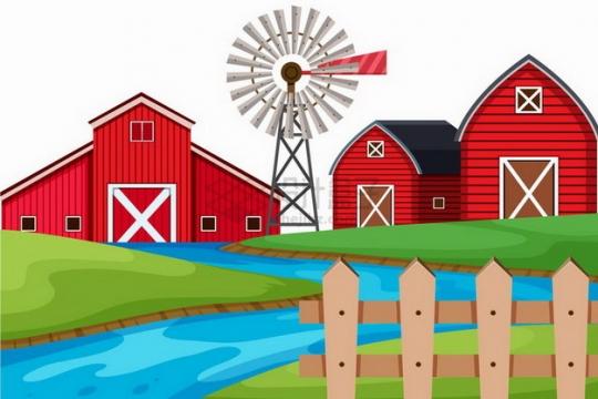春天乡村河流草地木栅栏和农舍大风车插画png图片免抠矢量素材