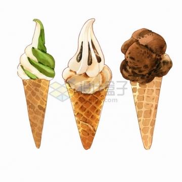 3款巧克力抹茶冰淇淋蛋筒美味冷饮水彩插画png图片素材