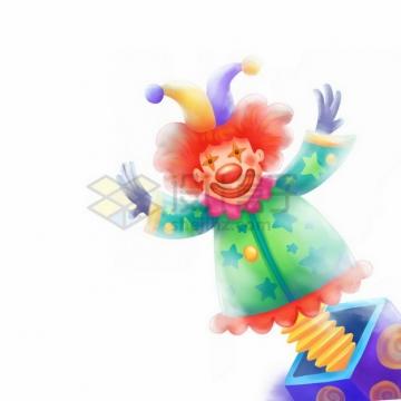 盒子里的卡通小丑玩偶愚人节彩绘插画png免抠图片素材