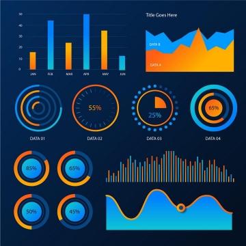 柱形图折线图环形图比例图条形图曲线图等渐变色炫丽PPT数据图表png图片免抠eps矢量素材