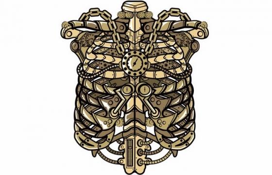 金属蒸汽朋克风格被铁链锁住的人体胸腔骨骼png图片免抠矢量素材