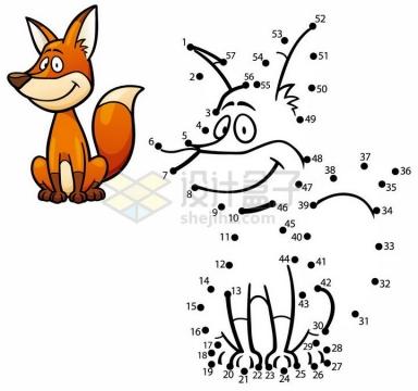 儿童绘画游戏画一只狐狸png图片免抠素材