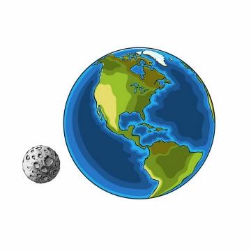 卡通手绘风格地球和月球地月系统png图片免抠eps矢量素材