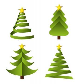 4款渐变色风格卡通圣诞树图片免抠素材