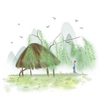 中国风彩色水墨画风格春天柳枝草屋远山风景图片免抠素材