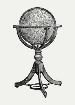 复古手绘线条风格地球仪历史书插图图片免抠矢量素材