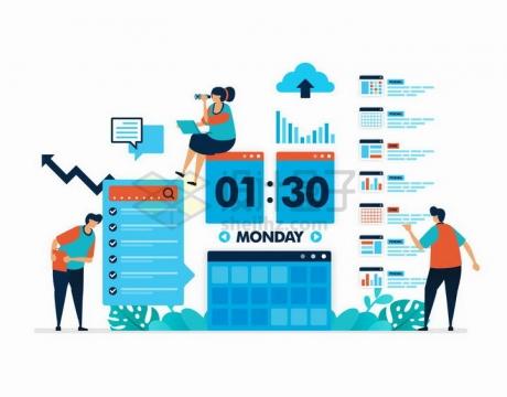 扁平插画商务人士的日程安排和时间规划png图片免抠矢量素材