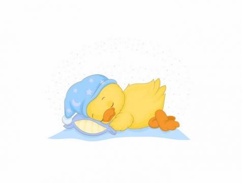 趴着睡觉的卡通小黄鸭png图片免抠素材