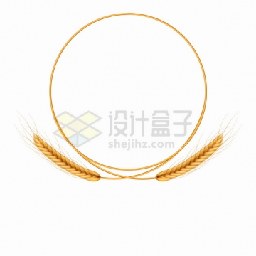 2根小麦麦穗和秸秆组成的圆圈文本框标题框png图片素材