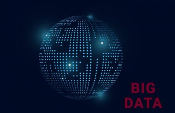 蓝色发光点组成的圆球大数据图片免抠素材
