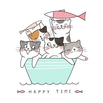卡通可爱手绘风格来到碗里的猫咪图片免抠素材