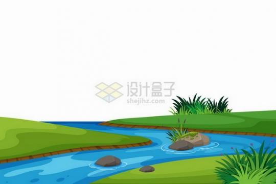 春天夏天翠绿色的草地流淌的小河插画png图片免抠矢量素材